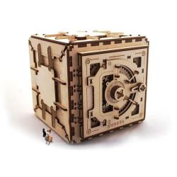 Caja fuerte, madera contrachapada, Kit de montaje, Escala 1:1. Marca Ugears, Ref: 70011.
