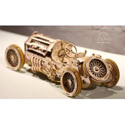 U-9 Coche de Gran Premio, madera contrachapada, Kit de montaje, Escala 1:32. Marca Ugears, Ref: 70044.