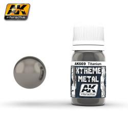 Xtreme Metal, titanio. Contiene 35 ml. Marca AK Interactive. Ref: AK669.