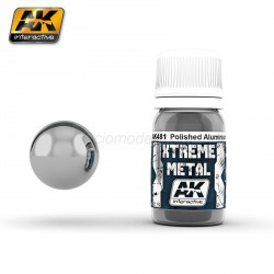 Xtreme Metal, Aluminio pulido. Contiene 30 ml. Marca AK Interactive. Ref: AK481.