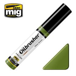Oilbrusher: Oleo verde oliva, olive green. Marca Ammo of Mig Jimenez. Ref: AMIG3505.
