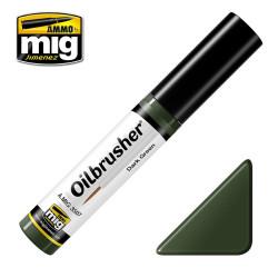 Oilbrusher: Oleo verde oscuro, dark green. Marca Ammo of Mig Jimenez. Ref: AMIG3507.