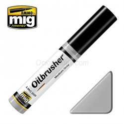 Oilbrusher: Oleo gris medio, medium grey. Marca Ammo of Mig Jimenez. Ref: AMIG3509.
