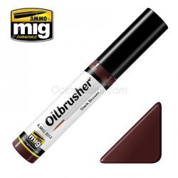 Oilbrusher: Oleo marrón  oscuro, dark brown. Marca Ammo of Mig Jimenez. Ref: AMIG3512.