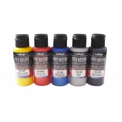 Set Premium RC-Color, metálicos 5 colores. Bote 60 ml. Marca Vallejo. Ref: 62103.