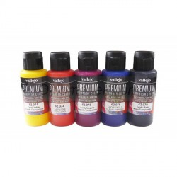 Set Premium RC-Color, transparentes - Candy color.  5 colores. Bote 60 ml. Marca Vallejo. Ref: 62104.