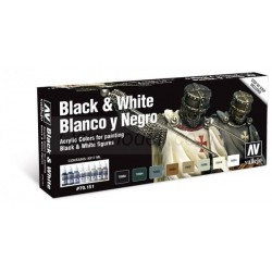 Set Model color, blanco y negro. Bote 17 ml. Marca Vallejo. Ref: 70151.