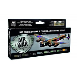 Model Air R.A.F. Colors Bomber & Training Air Command 1939-1945. 8 Colores. Bote 17 ml. Marca Vallejo. Ref: 71145.
