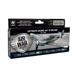 Model Air Luftwaffe Colors 1941 to end-war. 8 Colores. Bote 17 ml. Marca Vallejo. Ref: 71166.