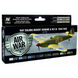 Model Air RAF Colors Desert Scheme & M.T.O. 1940-1945. 8 Colores. Bote 17 ml. Marca Vallejo. Ref: 71163.