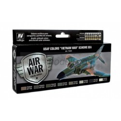 "Model Air USAF Colors ""Vietnam War"" Scheme SEA (South East Asia). 8 Colores. Bote 17 ml. Marca Vallejo. Ref: 71204."