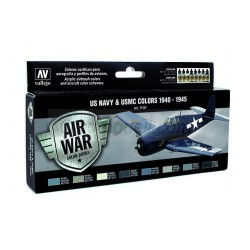 Model Air US NAVY & USMC Colors WWII 1940-1945. 8 Colores. Bote 17 ml. Marca Vallejo. Ref: 71157.