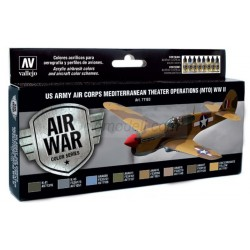 Model Air US Army Air Corps Mediterranean Theater (MTO) WWII. 8 Colores. Bote 17 ml. Marca Vallejo. Ref: 71183.