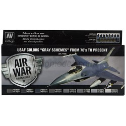 "Model Air USAF Colors ""GRAY SCHEMES"" from 70's to present. 8 Colores. Bote 17 ml. Marca Vallejo. Ref: 71156."