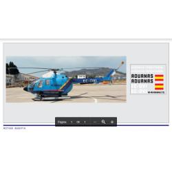 Calcas del helicóptero BO-105, aduanas, azul. Escala 1:72. Marca Trenmilitaria. Ref: 000_0009.