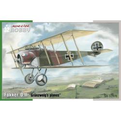 "Fokker D.II, ""planos"" Grünzweig´s. Escala 1:32. Marca Special Hobby. Ref: 32076."