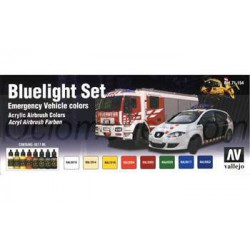 Set Model air Bluelight. 8 Colores. Bote 17 ml. Marca Vallejo. Ref: 71154.