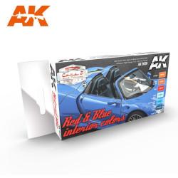 Set Acrílicos para vehículos civiles red & blue interior coclors. Marca Ak-Interactive. Ref: AK9030.
