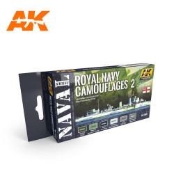 Set colores Royal Navy Camuflaje 2. Contiene 6 colores. Marca AK Interactive. Ref: AK5040.
