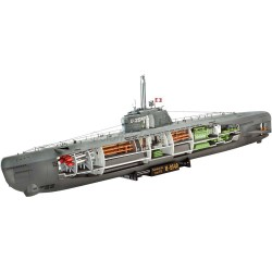 Submarino Alemán U-Boat Type XXI, con interiores. Escala: 1:144. Marca: Revell. Ref: 05078.