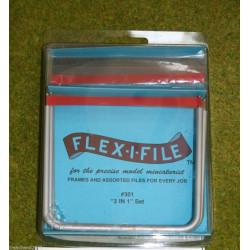 Flex-i-file, starter set. 3  en 1, 3 Bastidores de aluminio con 13 lijas variadas. Marca Albion Alloys. Ref: 301.