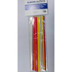 Pack de 12 limas extra fina, 400/600 grano. Marca Albion Alloys. Ref: 140.