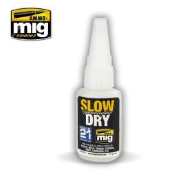 Slow cianoacrylate dry, pegamento cianocrilato lento. Bote 21 gr. Marca Mig. Ref: AMIG8013.