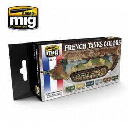 Set de colores para tanques de camuflaje WWI y WWII francés. Marca Ammo of Mig Jimenez. Ref: AMIG7110.