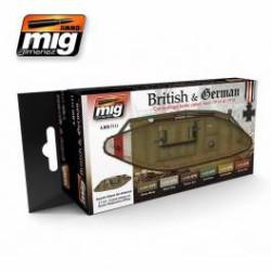 Set de colores para tanques Británicos y Alemanes de la WWI. Marca Ammo of Mig Jimenez. Ref: AMIG7111.