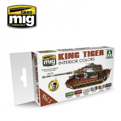 Set de colores interiores del King Tiger (Ed. especial Takom ) VOL.1. Marca Ammo of Mig Jimenez. Ref: AMIG7165.