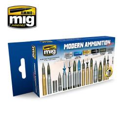 Set de colores para munición moderna. Marca Ammo of Mig Jimenez. Ref: AMIG7129.