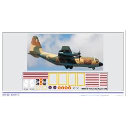 """Calcas Avión LOCKHEED C-130 HERCULES 31-51, decoración """"camuflaje """"lagarto"""". Escala 1:72. Marca Trenmilitaria. Ref: 000_4576."""