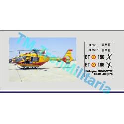 """Calcas Helicoptero EUROCOPTER EC-135, decoración """"amarillo-rojo UME"""". Escala 1:72. Marca Trenmilitaria. Ref: 000_4780."""