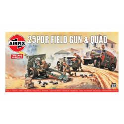 25pdr Field Gun & Quad. Escala 1:76. Marca Airfix. Ref: A01305V.