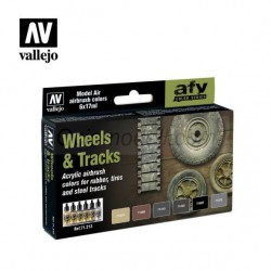 Set Model air para ruedas y orugas. Wheels and Tracks. Bote 17 ml, 6 colores. Marca Vallejo. Ref: 71213.