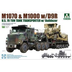 1070 & M1000 Tank Transporter 70 Ton with D9R Bulldozer. Escala 1:72. Marca Takom. Ref: 5002.