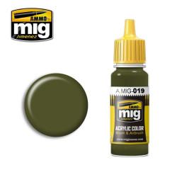 Acrílico 4BO russian green, 4BO Verde ruso. Bote 17 ml. Marca Ammo of Mig Jimenez. Ref: AMIG0019.