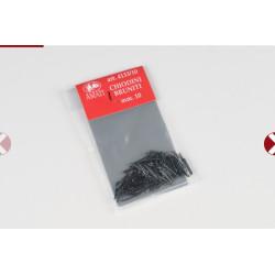Clavos negros 10 mm, con cabeza (200 unds. ). Marca Amati. Ref: 413310.