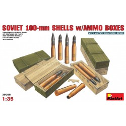 Soviet 100-mm SHELLS w/AMMO Boxes. Escala 1:35. Marca Miniart. Ref: 35088.