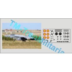"""Calcas del F18 12-01, decoración """"gris ALA 12"""". Escala 1:72. Marca Trenmilitaria. Ref: 000_4850."""