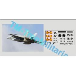 """Calcas del F18 15-34, decoración """"gris ALA 15"""". Escala 1:72. Marca Trenmilitaria. Ref: 000_4852."""