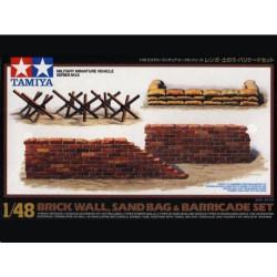 Muro de ladrillo, sacos y barricadas. Escala 1:48. Marca Tamiya. Ref: 32508.