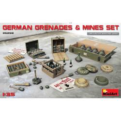 Accesorios, Armamento de infanteria alemana W.W.II, Minas y granadas. Escala 1:35. Marca Miniart. Ref: 35258.