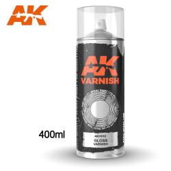 Barniz Brillante acrílico en spray. Cantidad 400 ml. Marca AK Interactive. Ref: AK1012.