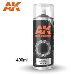 Imprimación fina negra en spray. Cantidad 400 ml. Marca AK Interactive. Ref: AK1009.