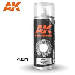 Imprimación fina blanca en spray. Cantidad 400 ml. Marca AK Interactive. Ref: AK1011.