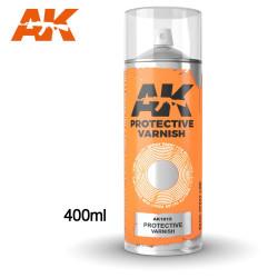 Barniz protector en spray. Cantidad 400 ml. Marca AK Interactive. Ref: AK1015.