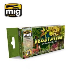 Set de colores vegetación dioramas. Marca Ammo of Mig Jimenez. Ref: AMIG7176.
