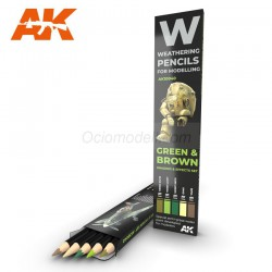 Set GREEN & BROWN: Shading & effects, Weathering pencils 5 colores. Marca AK Interactive. Ref: AK10040.