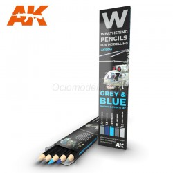 Set GREY & BLUE: Shading & effects, Weathering pencils 5 colores. Marca AK Interactive. Ref: AK10043.